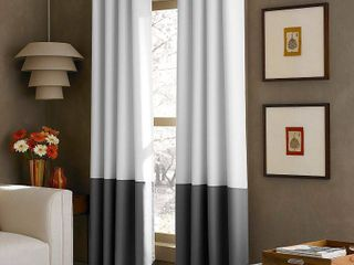 Two 108 x52  Kendall lined Curtain Panel White Gray   Curtainworks