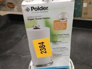 Polder Single Tear Paper Towel Holder  Brushed Stainless Steel with Black
