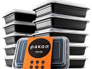 Pakkon Bento Box Food Storage Containers with Easy Tab Airtight lid 10 Pack Certified BPAFree Reusable  Microwavable  Bento Box
