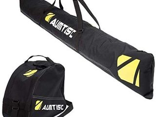 AUMTISC Ski Boot Bag Ski Bags Combo Padded for 1 Pair of Ski Boots Adjustable length Up to 200cm