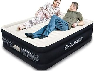 Englander First Ever Microfiber Queen Air Mattress  luxury Microfiber airbed with Built in Pump  Highest End Blow Up Bed  Inflatable Air Mattresses for Guests Home Travel  Black   RETAIl PRICE 129 95
