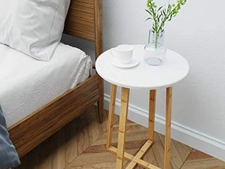 BAMEOS Side Table Modern Nightstand Round Side End Accent Coffee Table for living Room Bedroom Balcony Family and Office  15 7inx23 4in   RETAIl PRICE 39 99