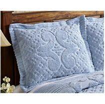 Better Trends   Pan Overseas Ashton Heavy Weight 100 Percent Cotton Chenille Tufted Sham  Standard  Blue