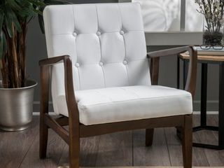 Marcola Mid Century Modern Faux leather Club Chair With Wood Frame by Christopher Knight Home  Retail 267 99