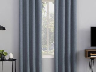 84 x50  Channing Textured Draft Shield Fleece Insulated 100  Blackout Grommet Top Curtain Panel Blue   Sun Zero  2 Panels