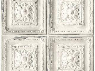 NextWall Distressed Tin Tile Peel and Stick Wallpaper