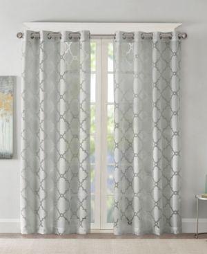 84 x50  Zoe Fretwork Burnout Sheer Curtain Panel Gray  2 Panels