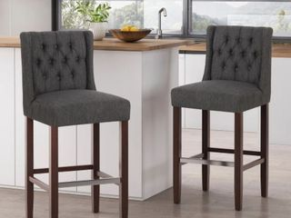 Bayliss Tufted Wingback Barstool  Set of 2 by Christopher Knight Home