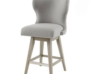 Madison Park Irvine High Wingback Button Tufted Upholstered 27 Inch Swivel Counter Bar Stool  Retail 217 49