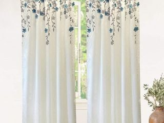 DriftAway Isabella Faux Silk Embroidered Window Curtain Embroidered Crafted Flower lined with Thermal Fabric Panel Pair 50 Inch by 84 Inch Ivory Blue