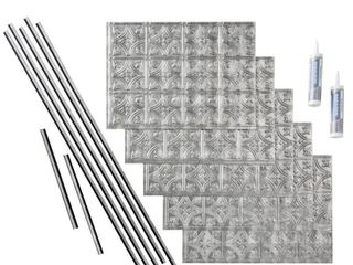 Fasade Traditional Style  1 Crosshatch Silver 15 square Foot Backsplash Kit  Retail 155 49  10 Panels