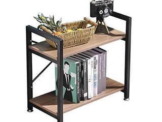 BENOSS Industrial Style Bookcases Furniture with Metal Frame  2 Tier