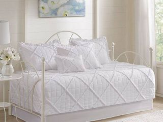 Madison Park Wendy White 6 Pieces Quilted Daybed Cover Set with Ruffle  Pleating Details