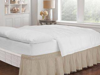 Tan Wrap Around Pom Pom Bed Skirt  Twin Full   75  X 39    EasyFit