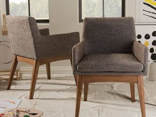 Set of 2 Nexus Mid   Century Modern Wood Finishing and Fabric Upholstered Arm Chair