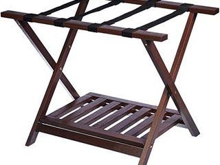 Amazon Basics Wooden Folding Suitcase luggage Rack Stand with Shelf   Espresso
