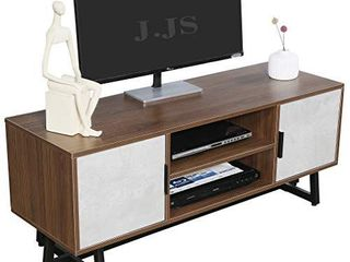 JJS Media TV Stand for 55  TV  Modern Entertainment Center Simple Wood Console Stand with Storage Cabinet
