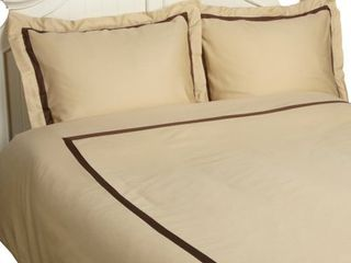 Hotel Collection 300 Thread Count Full Queen Duvet Cover Set  Honey with Mocha