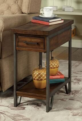 Brick Attic Collection CM AC286 20  Side Table with Metal Framework Open Bottom Shelf Made of Metal and Wood in Dark