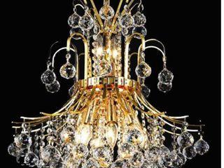 Elegant lighting Gold 19 inch Royal cut Crystal Clear Hanging 10 light Chandelier  Retail 320 00