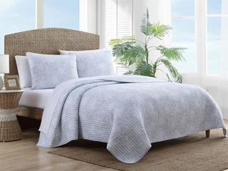 Tommy Bahama Makena Cotton Blue Full Queen Quilt Set