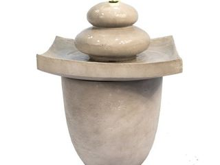 Peaktop 2 Tier Outdoor Waterfall Fountain with lED lights  Gray   Retail 151 25