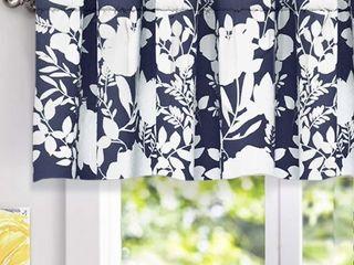 DriftAway Floral Delight Botanic Pattern Window Curtain Valance  52 X18  Navy  Set Of 2