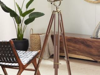 Decmode   Tall Industrial Brass  amp  Wood Tripod Floor lamp w  Spotlight Metal Cage Shade Retail 318 00