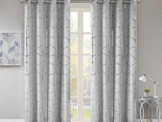 Raina Metallic Print 50  x 63  Total Blackout Curtain Panel  Set Of 2