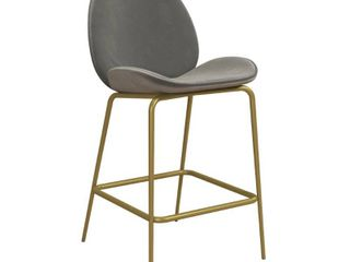 Astor Velvet Upholstered Counter Height Barstool Gray   Cosmoliving by Cosmopolitan