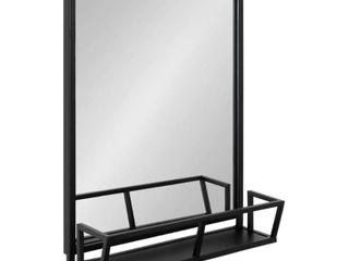 Kate and laurel Jackson Rustic Black Metal Organizer Mirror With Shelf   22x29  Retail 172 99
