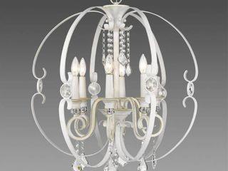 Ella French White 6 light Chandelier  Retail 383 00