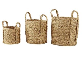 Studio 350 Round Natural Seagrass Wicker Basket Planters With Handles  Set of 3  Retail 119 99