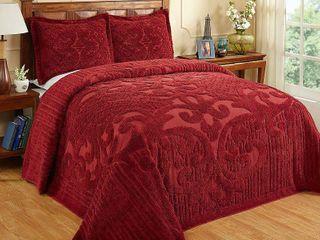 Better Trends Ashton Collection in Medallion Design 100  Cotton Tufted Chenille  King Bedspread  Burgundy