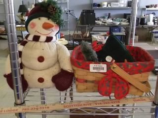 Christmas lot   Stuffed snowman and basket with contents