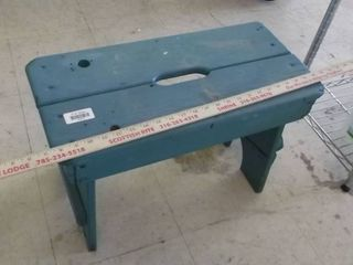 Blue sturdy wooden bench