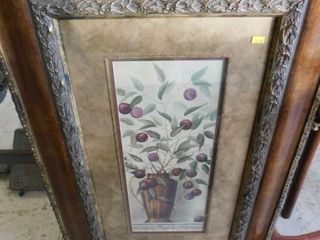 large floral picture w ornate frame