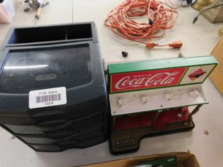 plastic jewelry box and miniature battery powered Coke stand