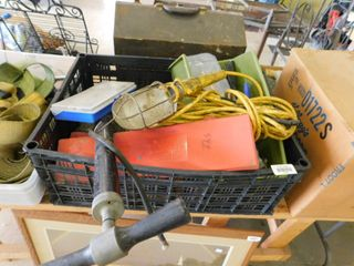 lot of shop items   tire pump  needles  shop light with cord and more