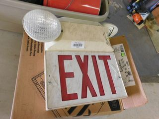 lot of 2 emergency EXIT signs  lighted