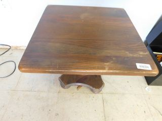 Short square wooden occasional table