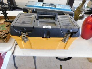 large plastic tool box with contents