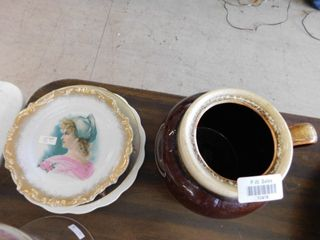 Pottery jar and decorative plates