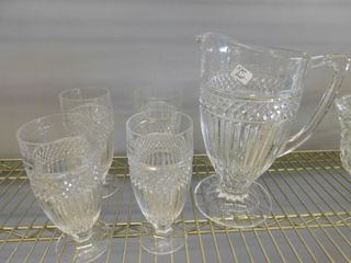 Crystal pitcher w 4 crystal glasses