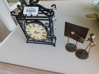 wrought iron clock   note holders