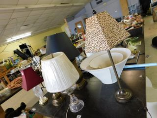 large lot of table lamps