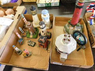large lot of lighthouse decorations