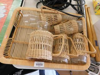 Wicker tray with Pitcher and glasses