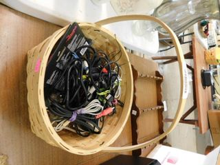 basket and lot of cords