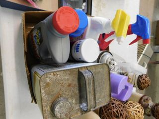 lot of assorted cleaning supplies